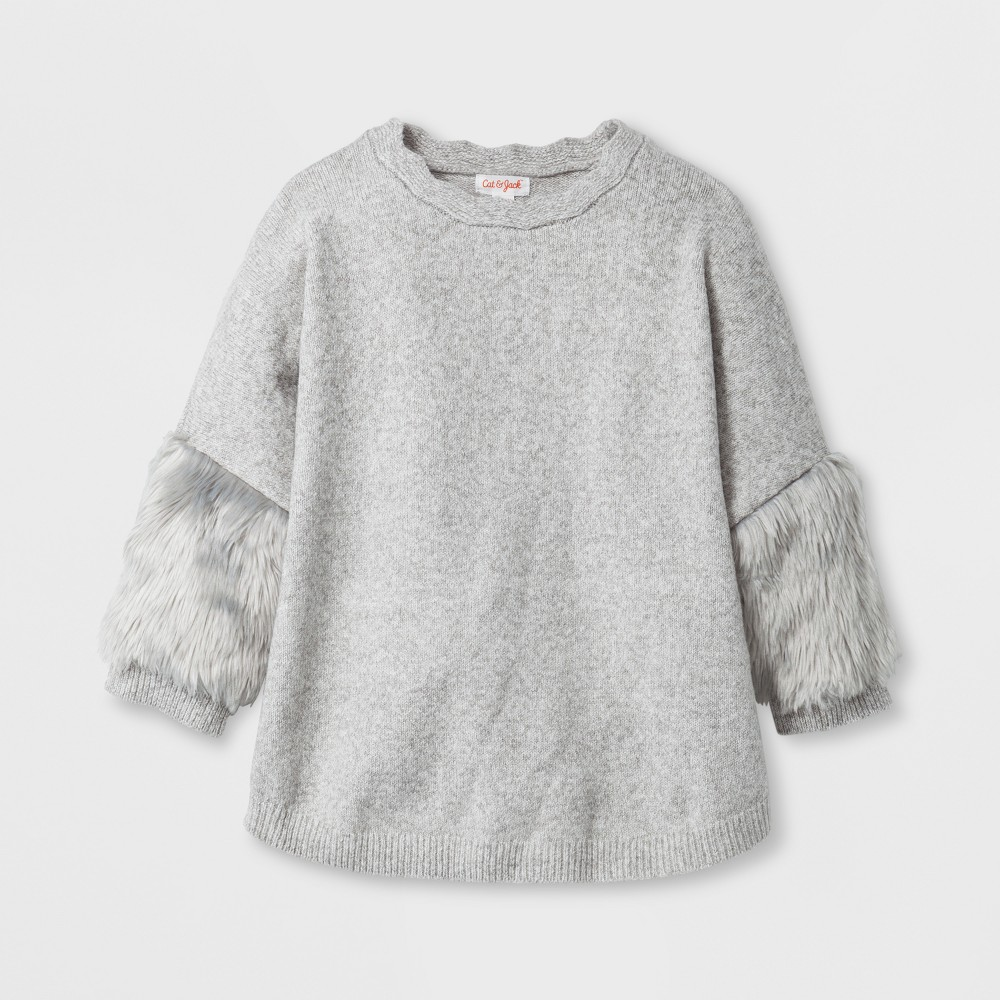 Girls Fur Cuff Poncho - Cat & Jack Gray L
