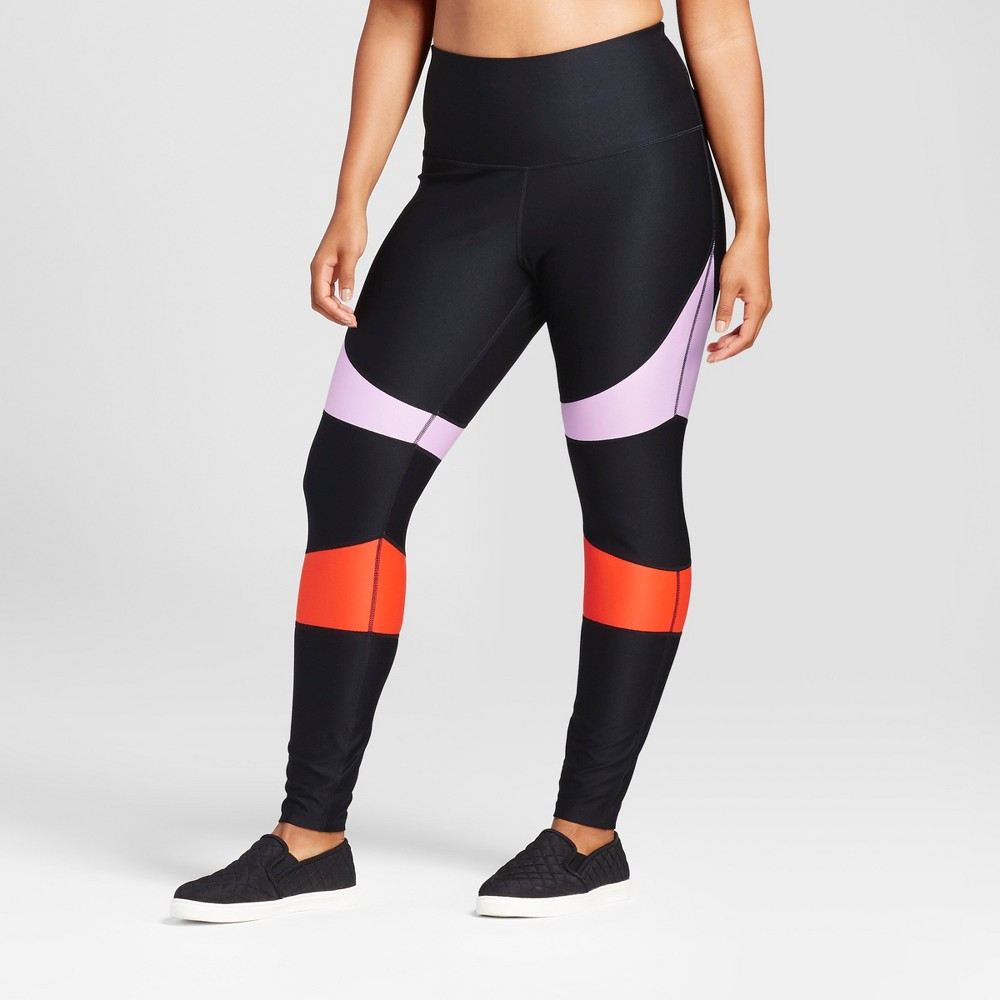 Plus Size Womens Plus High Waist Performance Leggings - JoyLab Color Block 1X, Multicolored