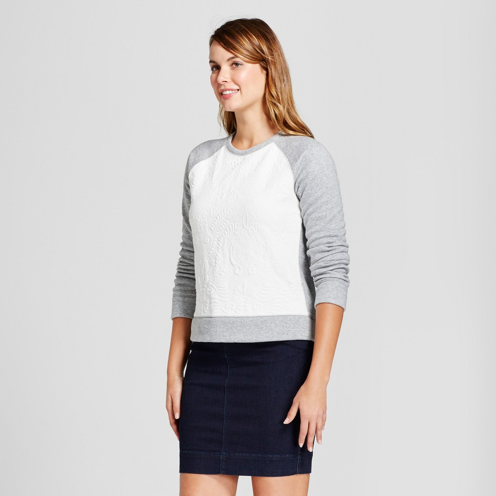Womens Cream Jacquard Any Day Pullover - A New Day Cream S, Gray