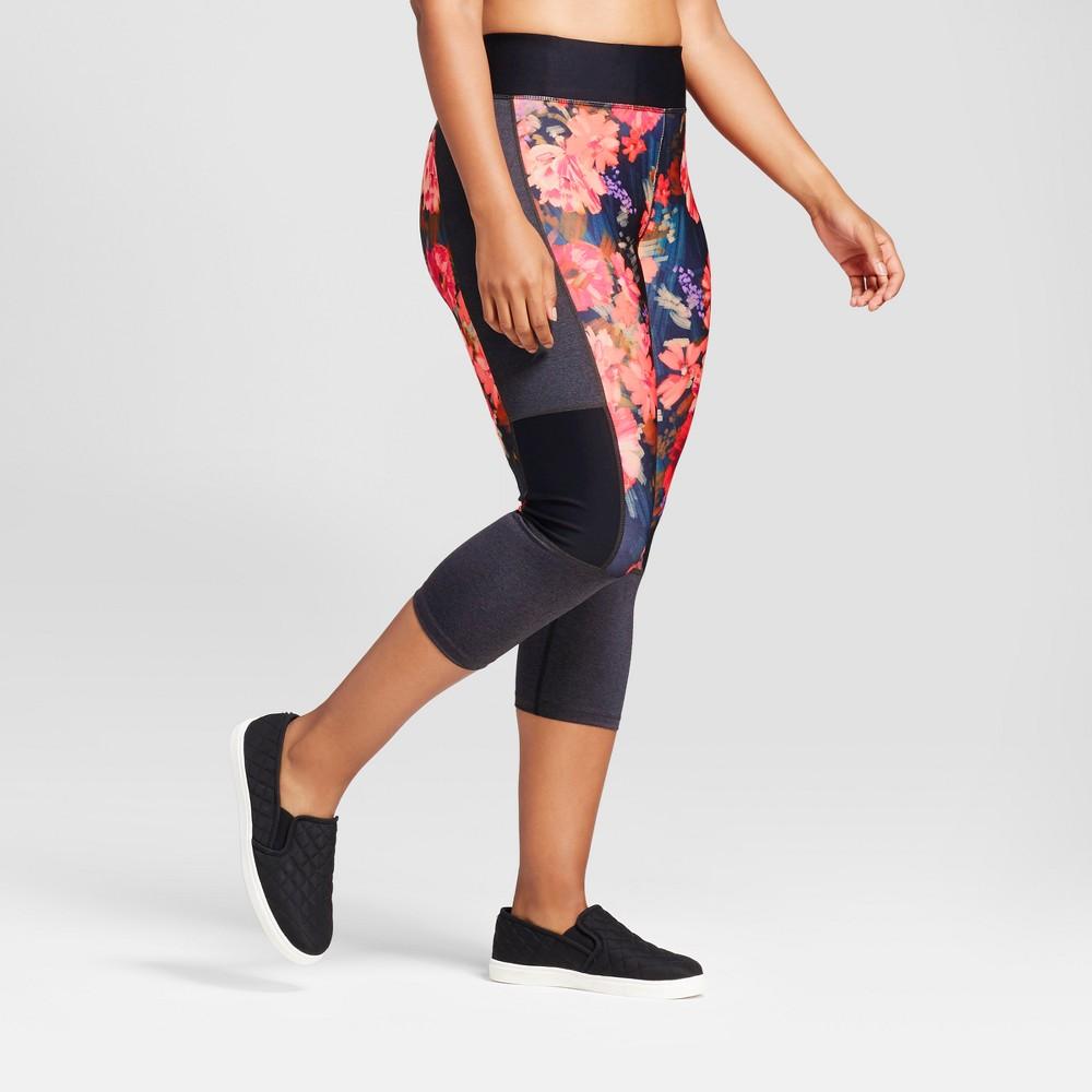 Plus Size Womens Plus Performance Capri Leggings - JoyLab Multi Floral Print 3X, Multicolored