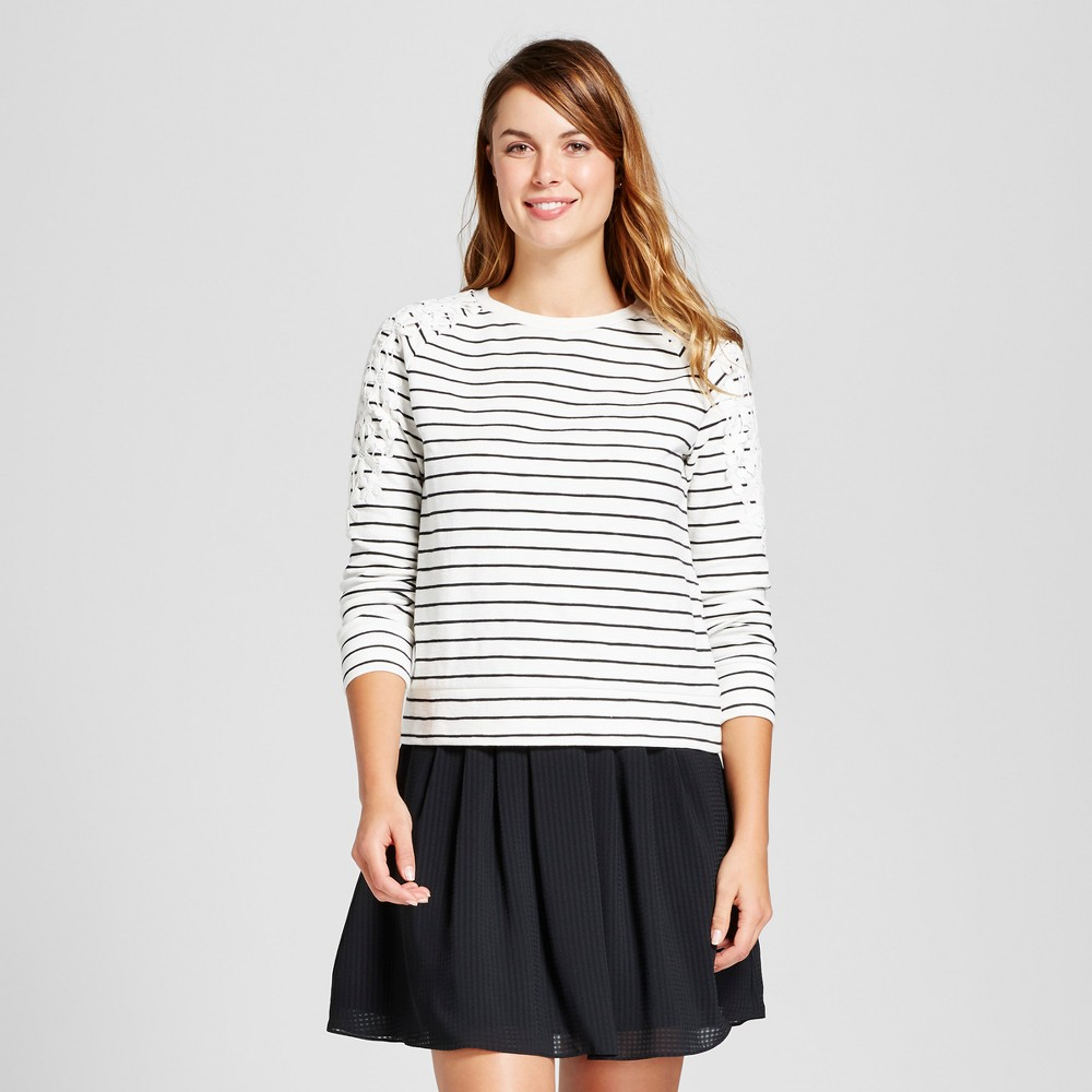 Womens Striped Any Day Pullover - A New Day White/Black XL
