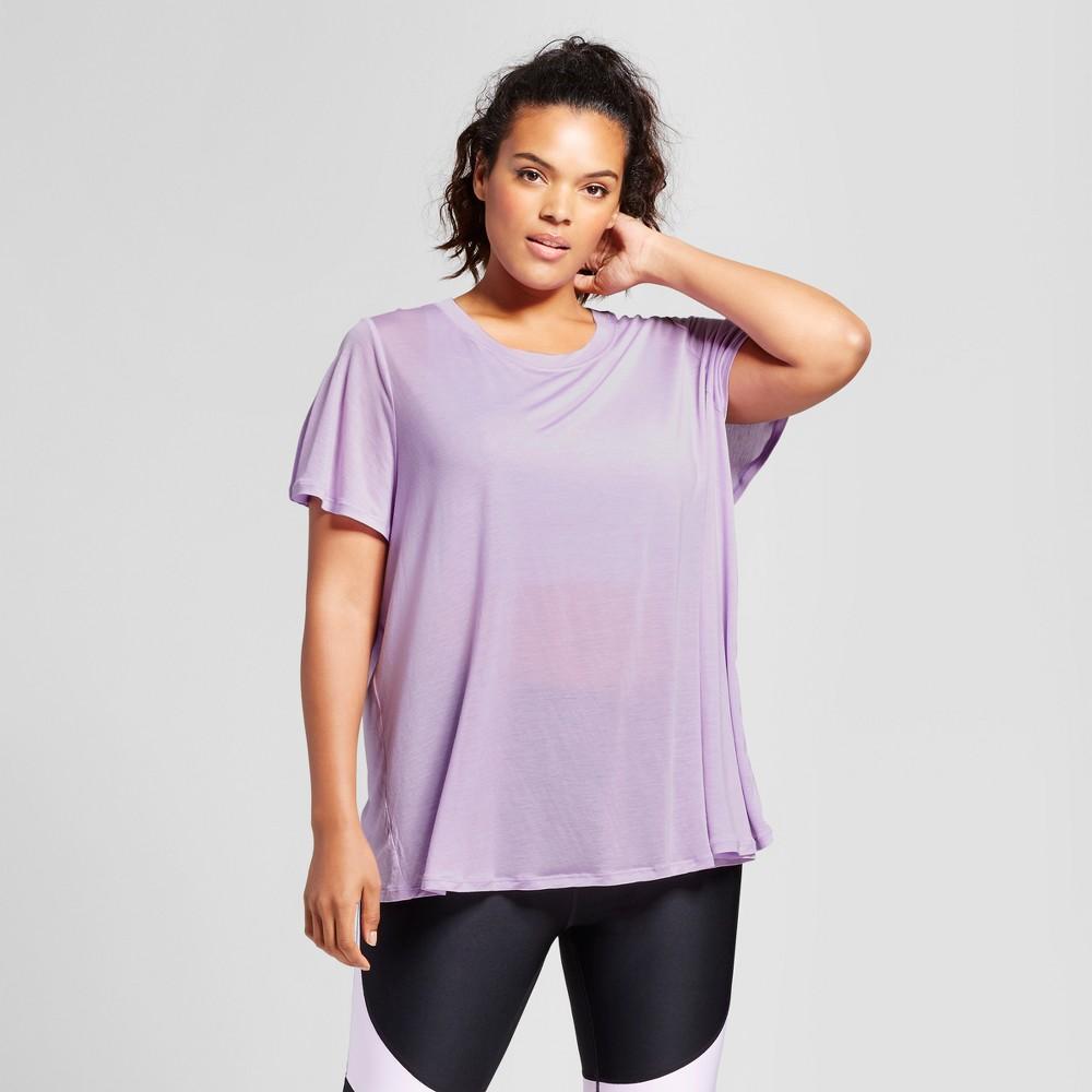 Plus Size Womens Plus Flutter Back T-Shirt - JoyLab Lavender Haze 3X