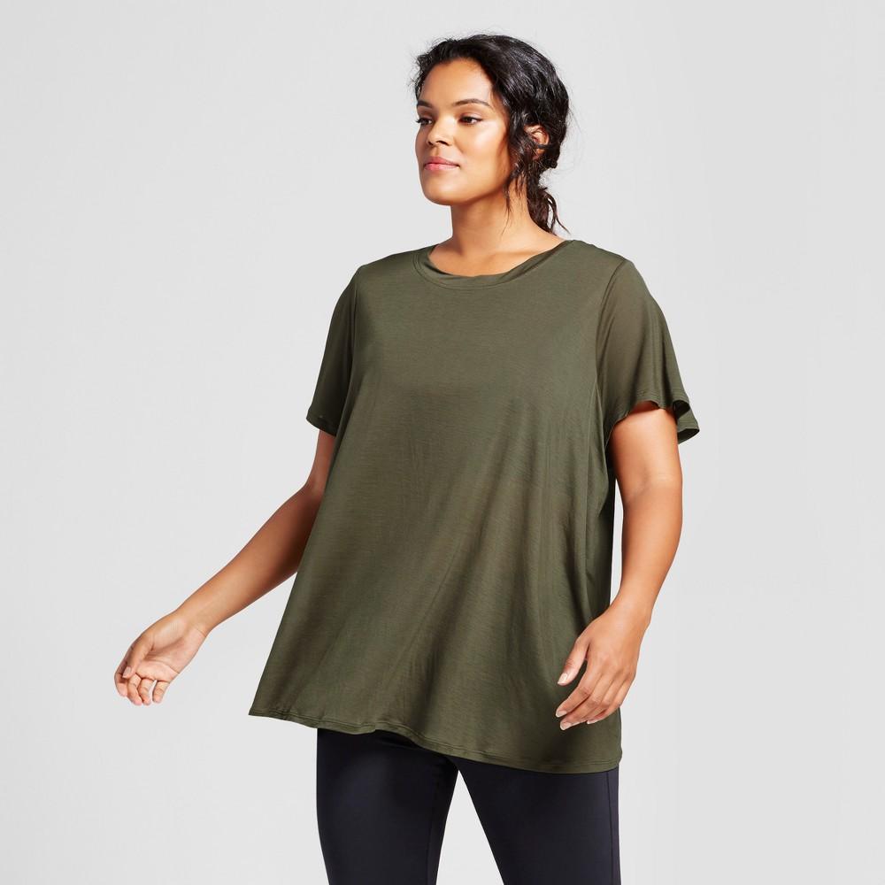 Plus Size Womens Plus Flutter Back T-Shirt - JoyLab Deep Olive 3X