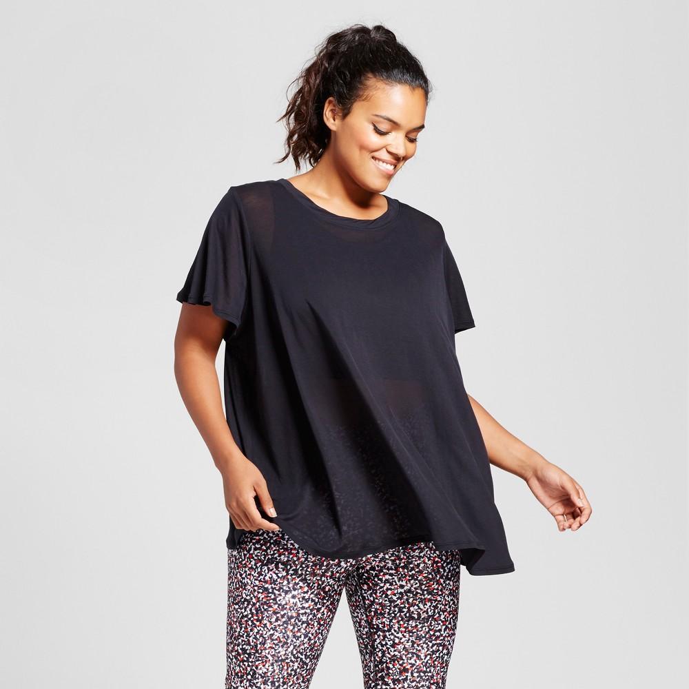 Plus Size Womens Plus Flutter Back T-Shirt - JoyLab Black 2X