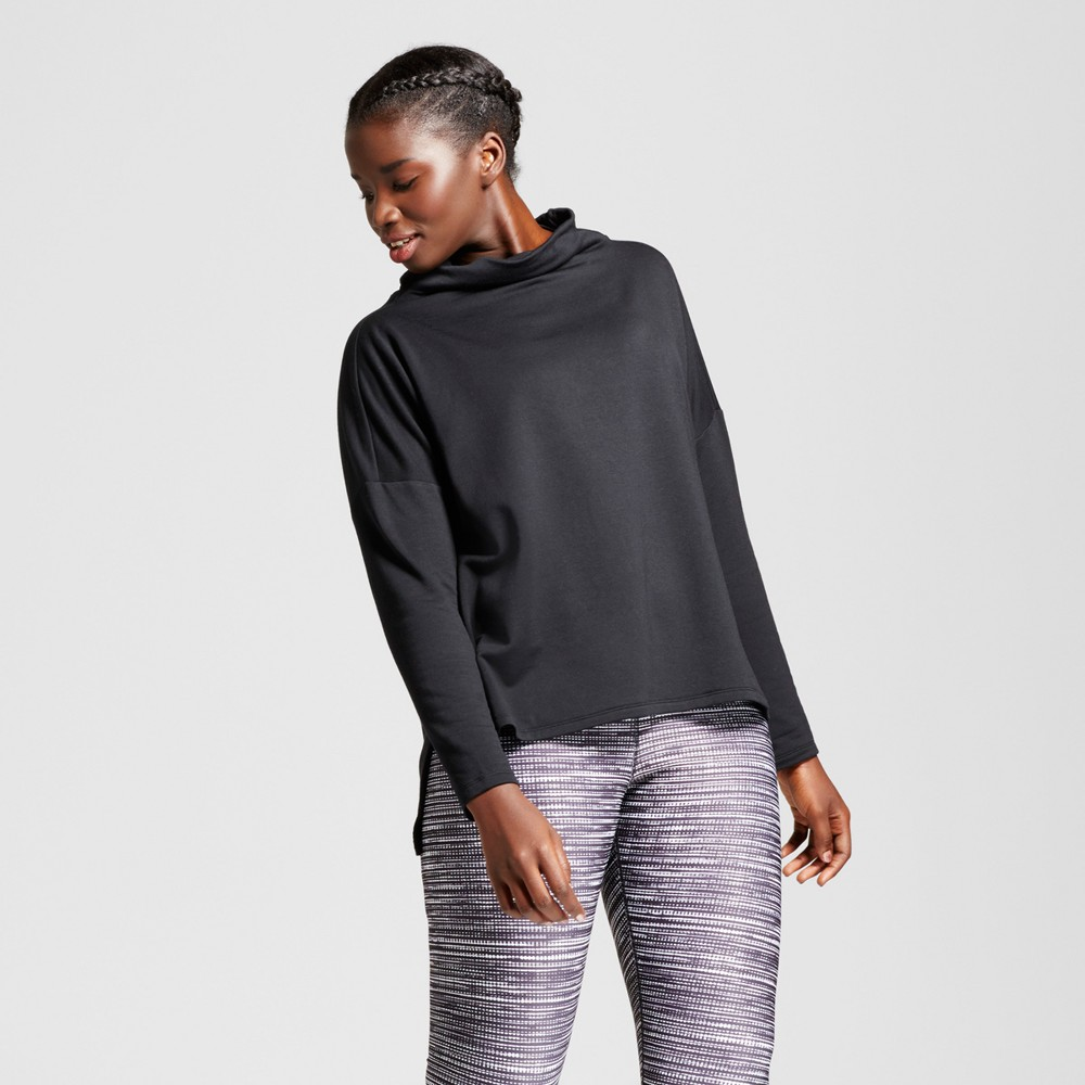 Plus Size Womens Plus Turtleneck Cozy Layering Sweatshirt - JoyLab Black 4X
