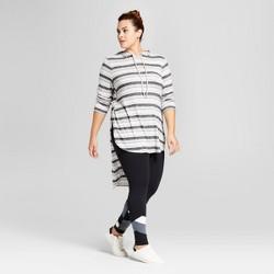 Women's Plus Size Stripe Side Split Hoodie - Ava & Viv™ Gray