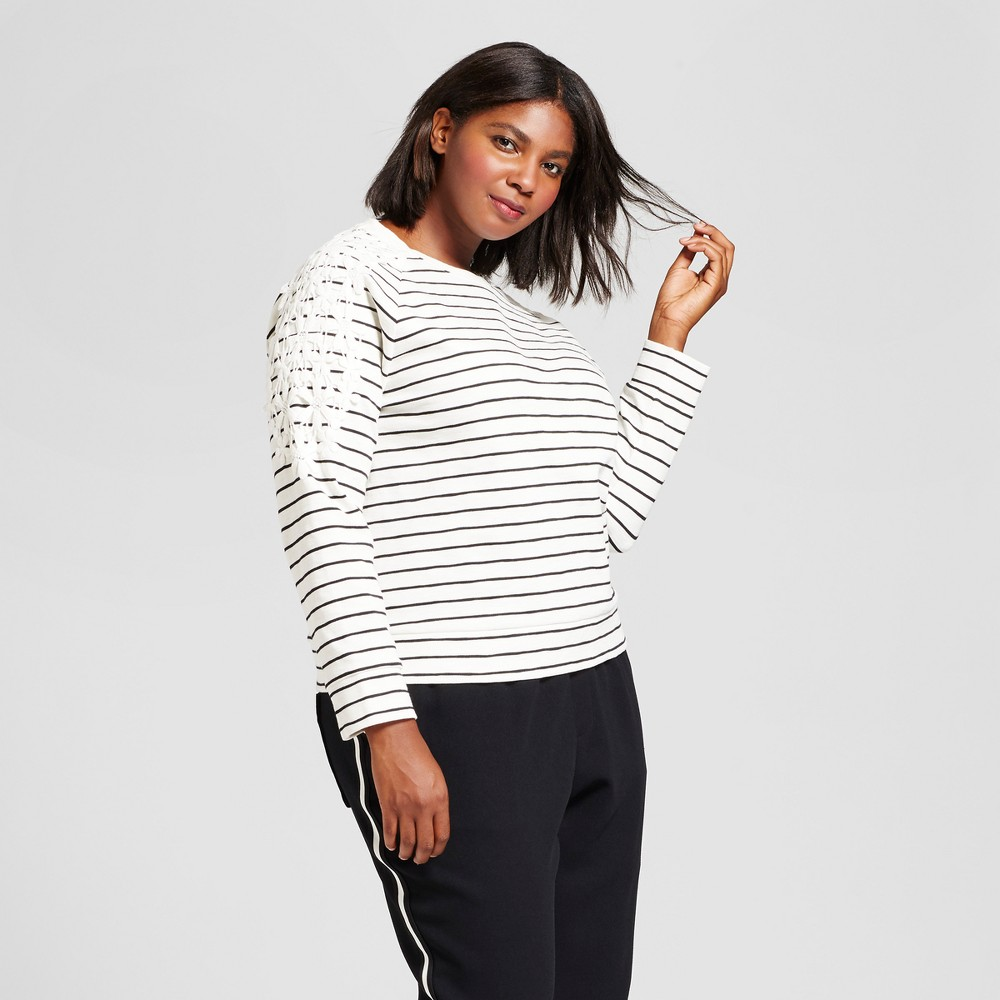 Womens Plus Size Striped Pullover with Lace - A New Day Black Stripe X