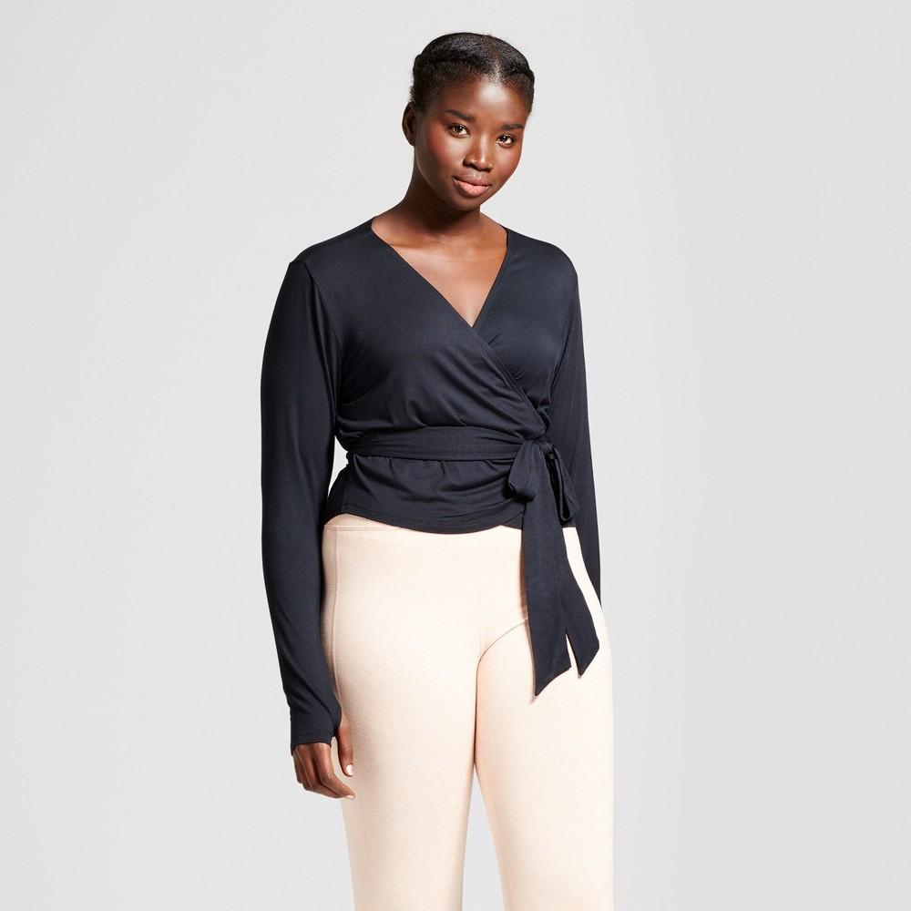 Plus Size Womens Plus Long Sleeve Wrap T-Shirt - JoyLab Black 1X