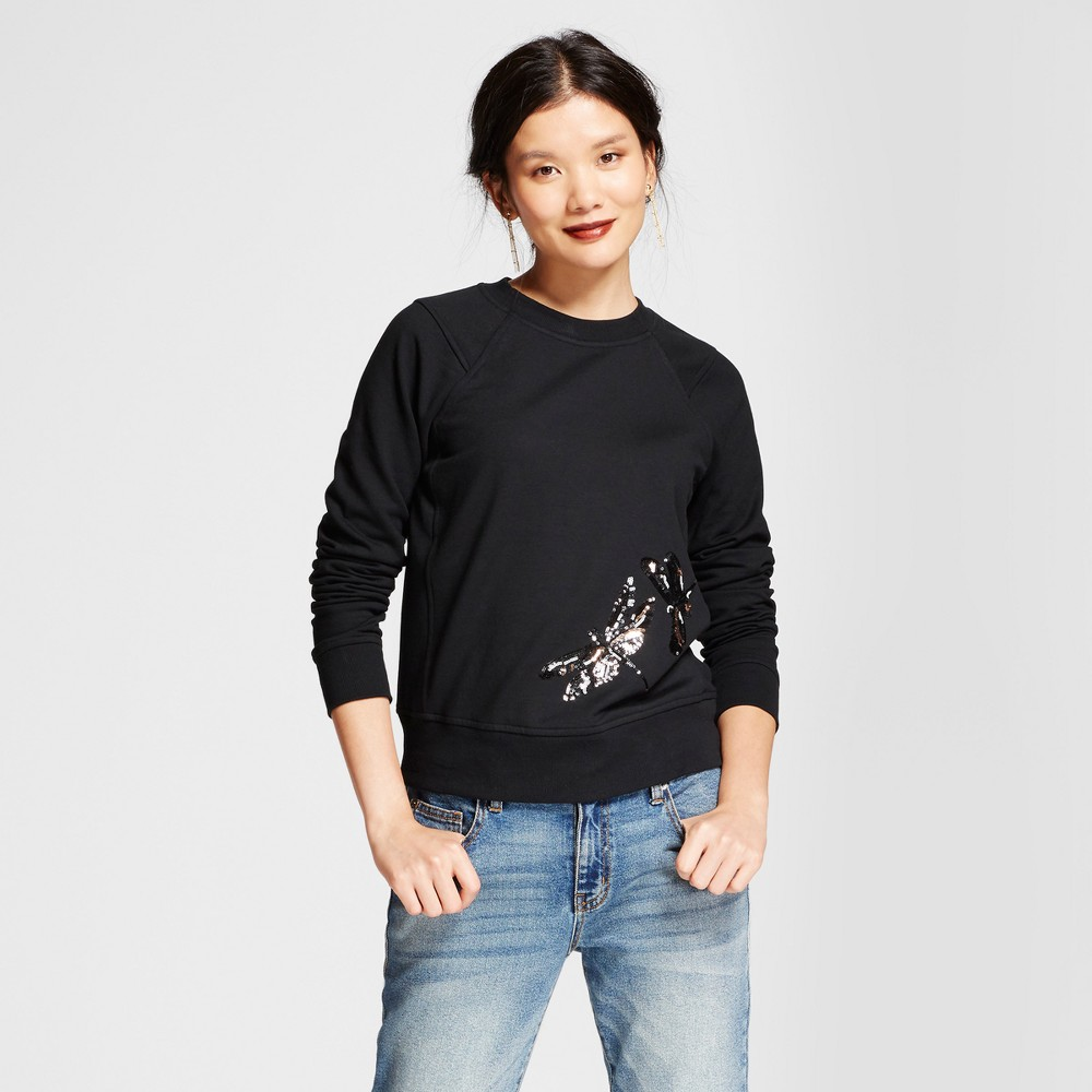 Womens Black Sequin Dragonfly Any Day Pullover - A New Day Black M