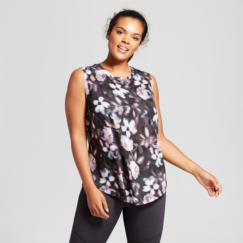 Plus Size Womens Plus Muscle Tank - JoyLab Floral Print 2X, Multicolored