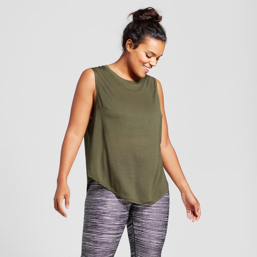 Plus Size Womens Plus Muscle Tank - JoyLab Deep Olive 2X
