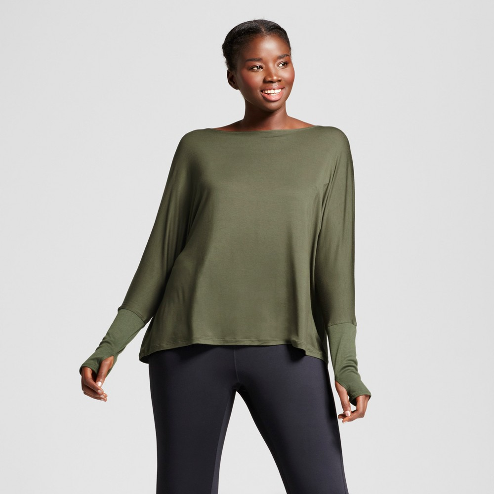 Plus Size Womens Plus Open Back T-Shirt with Ribbed Sleeves - JoyLab Deep Olive 3X
