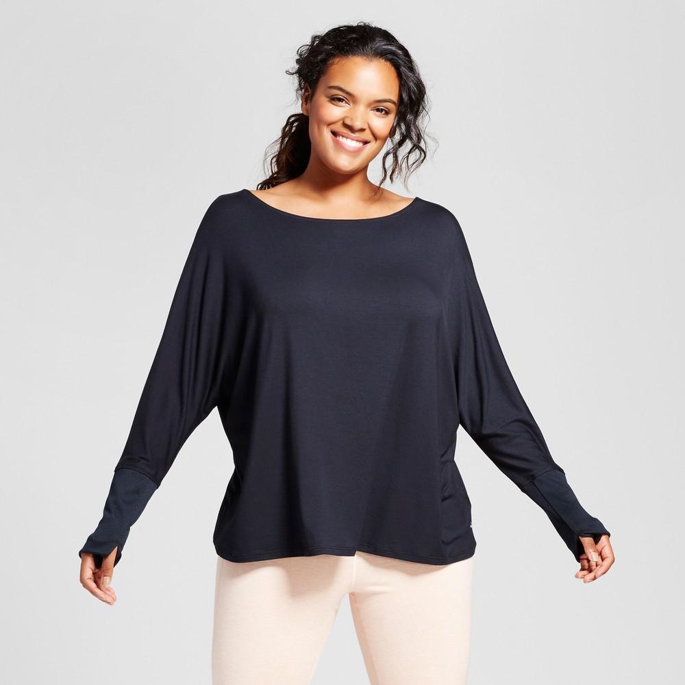 Plus Size Womens Plus Open Back T-Shirt with Ribbed Sleeves - JoyLab Black 2X