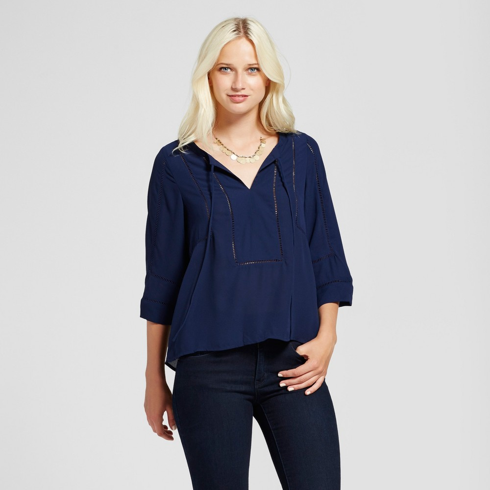 Womens Crochet Detail Cut Out Blouse - Layered with Love Navy S, Blue