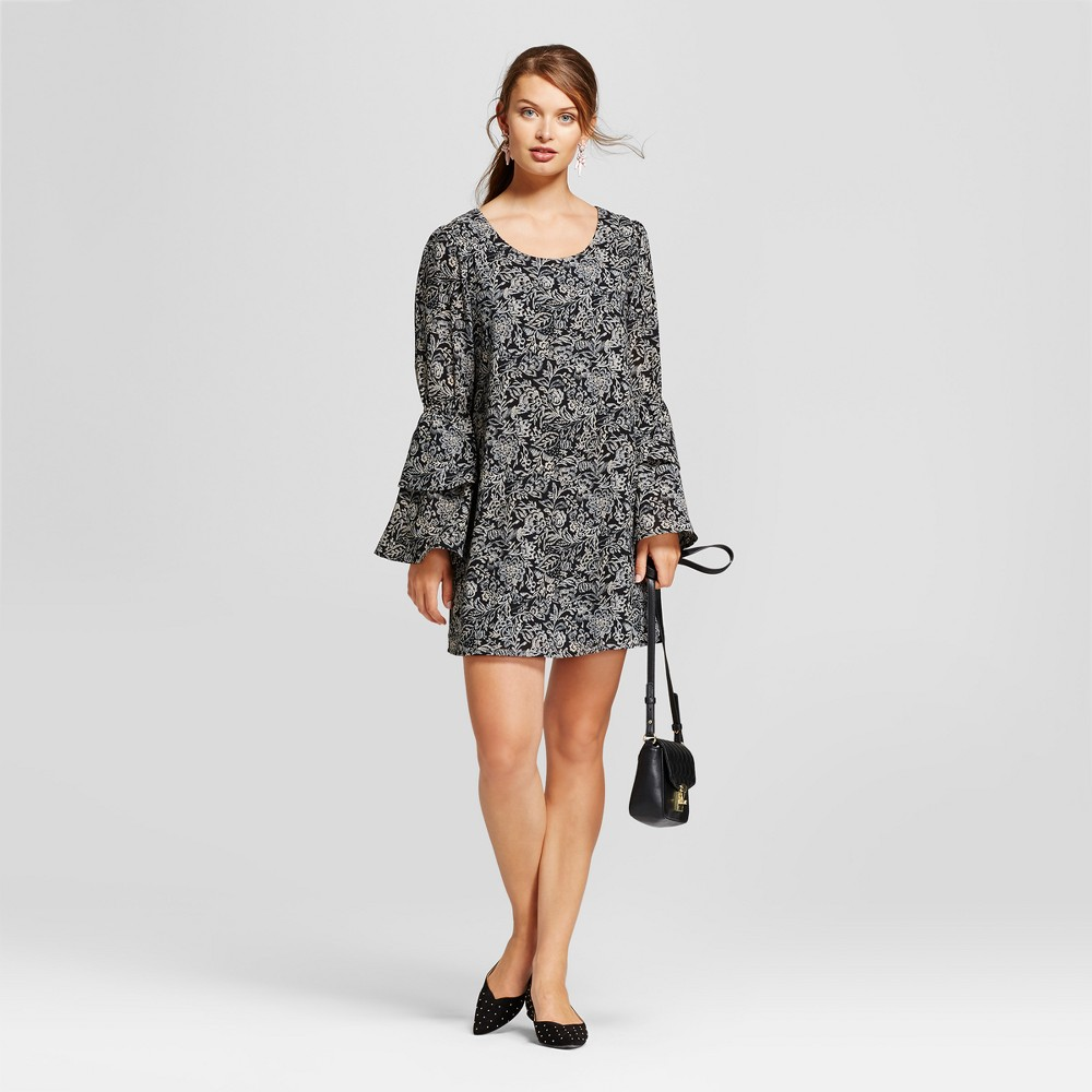 Womens Printed Bell Sleeve Dress - A New Day Black Xxl