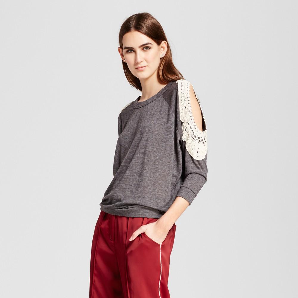 Womens Cold Shoulder Blouse - Cliché Charcoal M, Gray