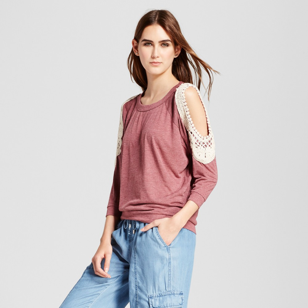 Womens Cold Shoulder Blouse - Cliché Burgundy L, Red