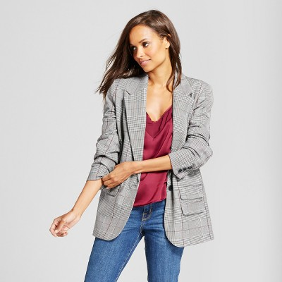 view Women's Plaid Boyfriend Blazer - A New Day Gray on target.com. Opens in a new tab.