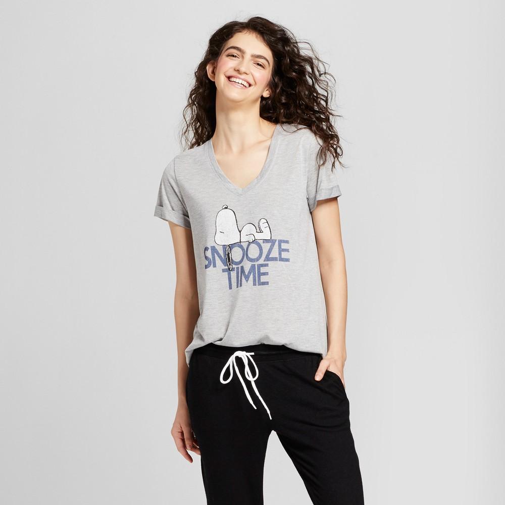Womens Snoopy Snooze Time Pajama T-Shirt - Heather Gray XS