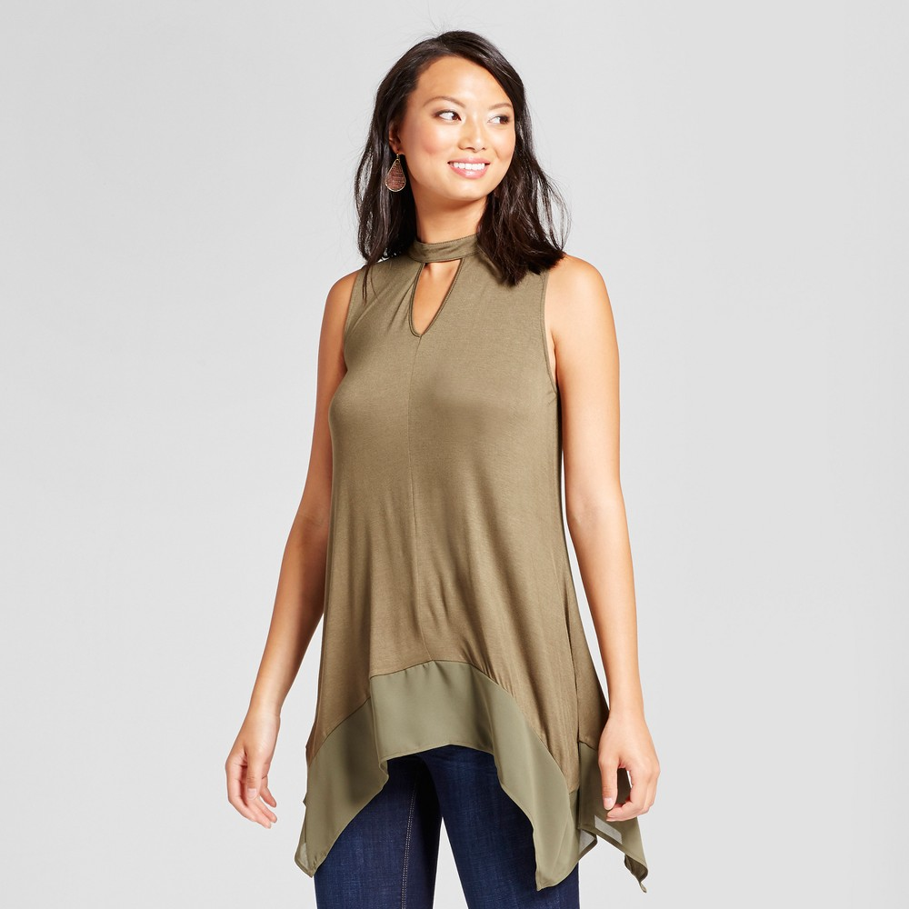 Womens Choker Neck Tank with Georgette Hem - August Moon Medium Olive M, Green