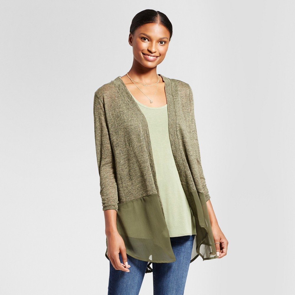 Womens Crochet Lace Back Open Layering with Chiffon Hem - August Moon Spring Moss M, Green