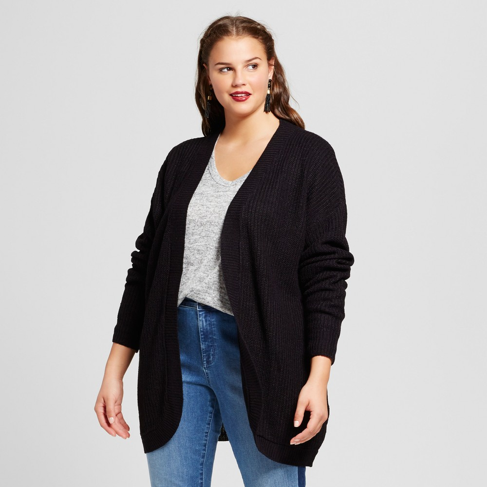 Womens Plus Size Cocoon Cardigan - No Comment - Black 3X
