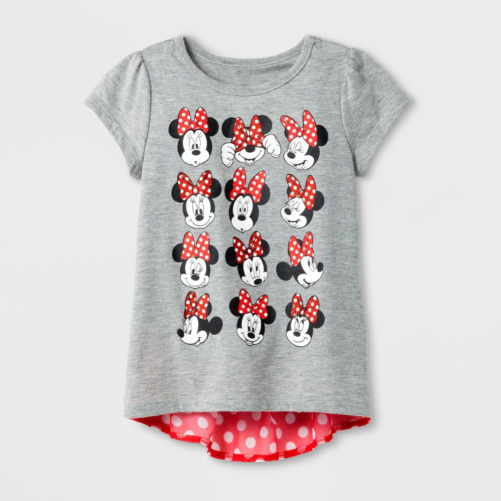 Toddler Girls Disney Minnie Mouse T-Shirt - Charcoal Heather 2T, Gray