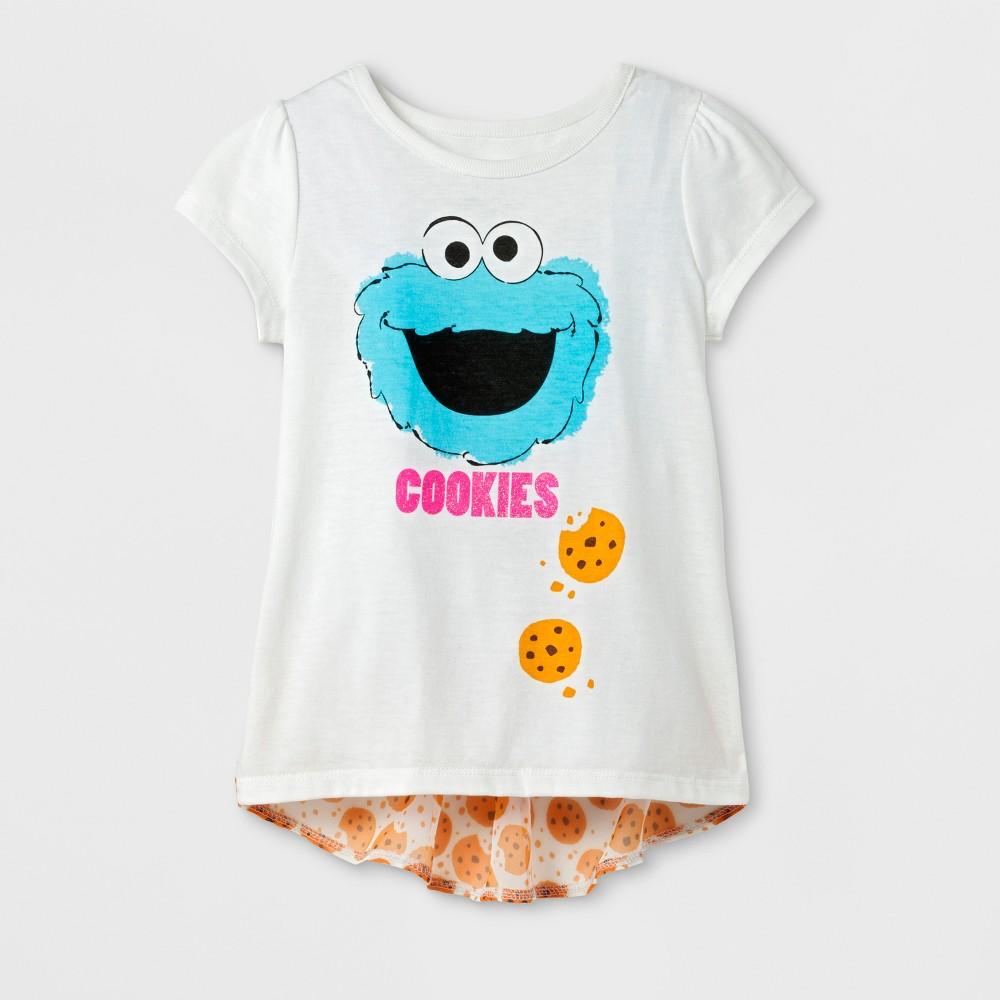 Toddler Girls Sesame Street Cookie Monster T-Shirt - Cream 3T, Beige