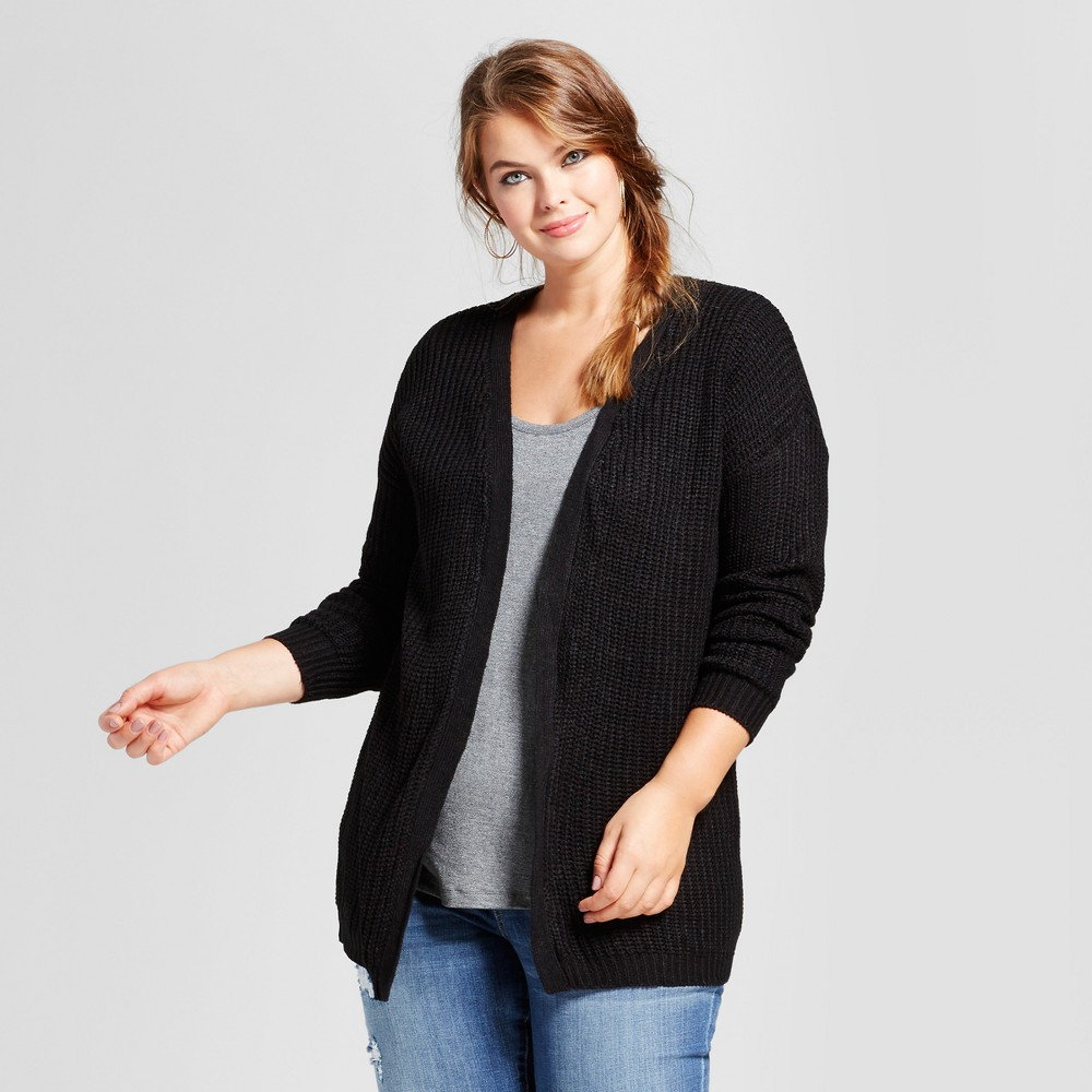 Womens Plus Size Slouchy Lace Up Back Cardigan - No Comment - Black 2X