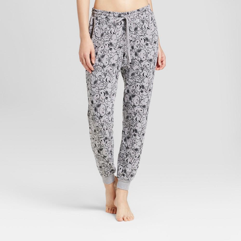 Womens Snoopy Print Pajama Pants - Heather Gray S