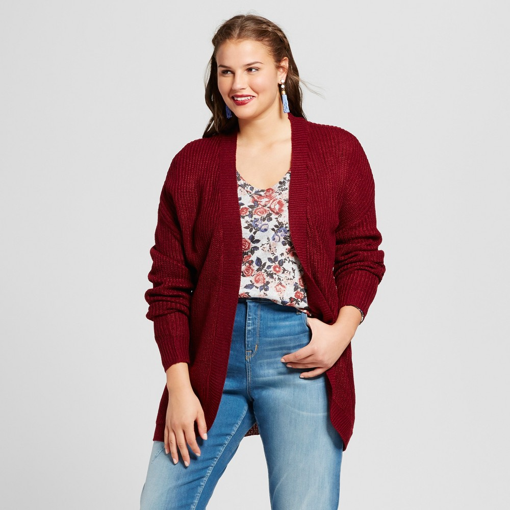 Womens Plus Size Cocoon Cardigan - No Comment - Red 1X