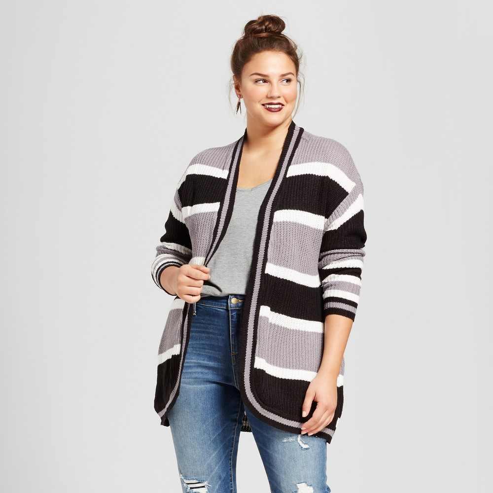 Womens Plus Size Cocoon Cardigan - No Comment Gray Striped 2X
