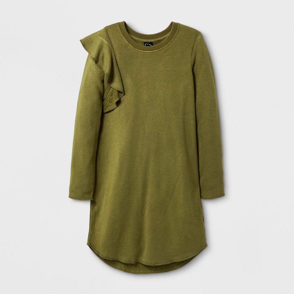 Girls Long Sleeve Ruffle Sweatshirt Dress - Art Class Wave Olive XL, Green