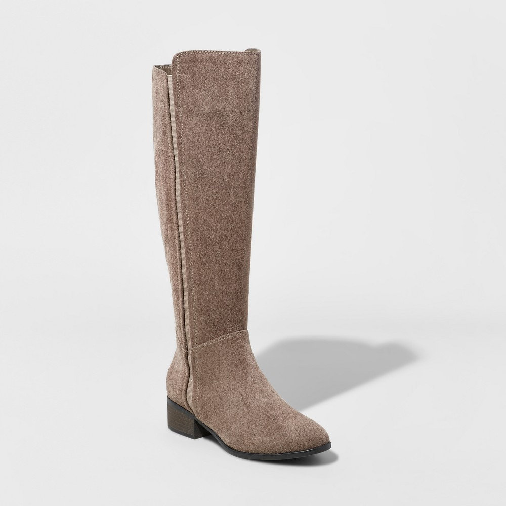 Womens Marie Suede Wide Calf Tall Boots - A New Day Gray 6.5WC, Size: 6.5 Wide Calf