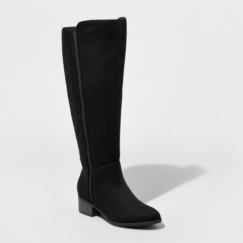 Womens Marie Suede Wide Calf Tall Boots - A New Day Black 6WC, Size: 6 Wide Calf