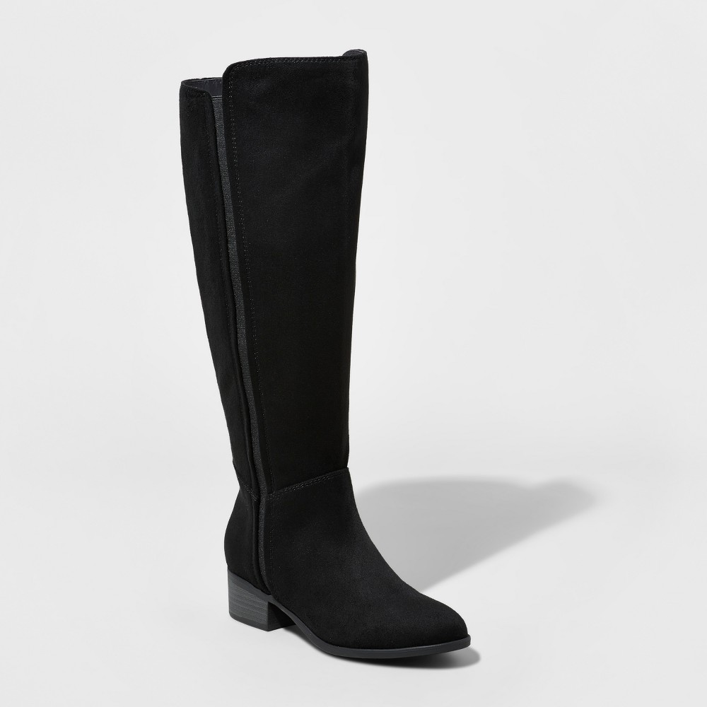 Womens Marie Suede Wide Calf Tall Boots - A New Day Black 9WC, Size: 9 Wide Calf
