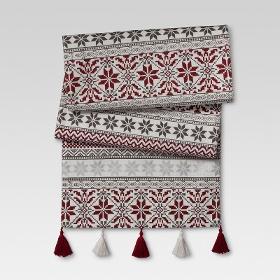 Red White And Black Floral Table Runner - Threshold™