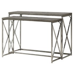 Console Table - 2 Piece - Chrome Metal - EveryRoom