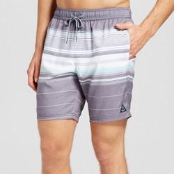 Men's Stripe Swim Trunks - Trinity Collective Gray