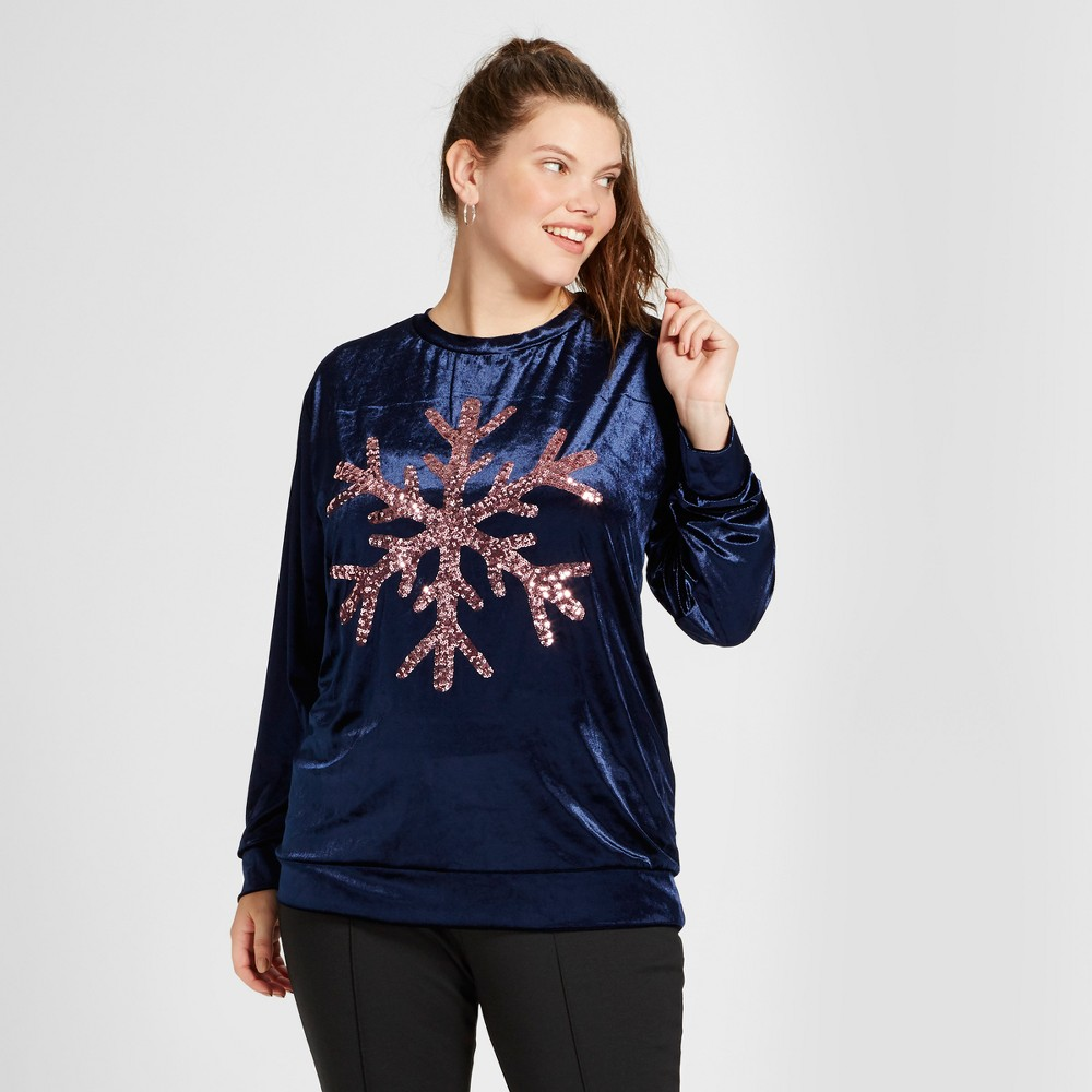 Womens Plus Size Snowflake Velour Pullover Sweater - Miss Chievous (Juniors) Navy 3X, Blue