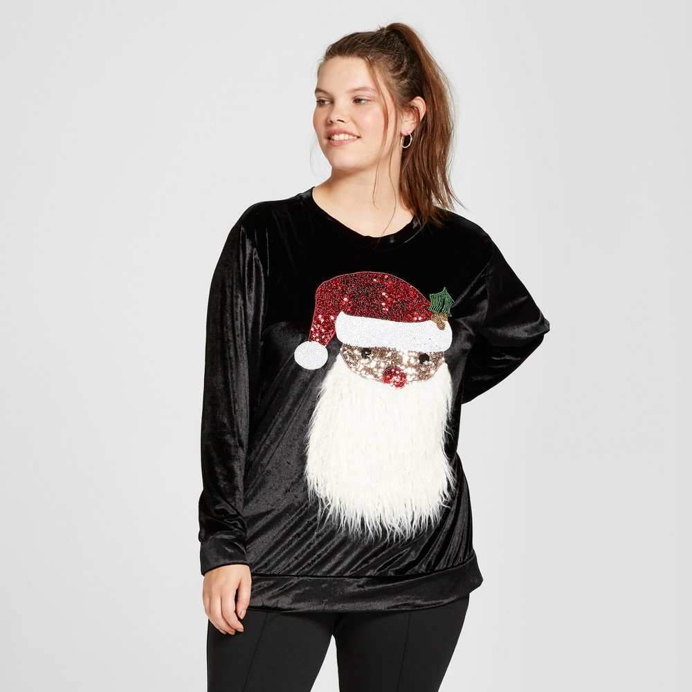 Womens Plus Size Santa Velour Pullover Sweater - Miss Chievous (Juniors) Black 2X