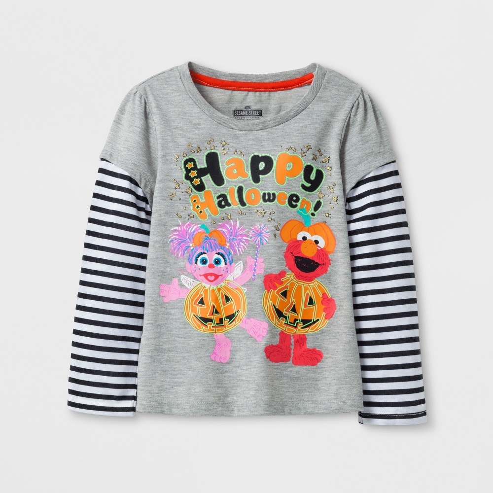 Toddler Girls Sesame Street Elmo Long Sleeve T-Shirt - Heather 2T, Gray