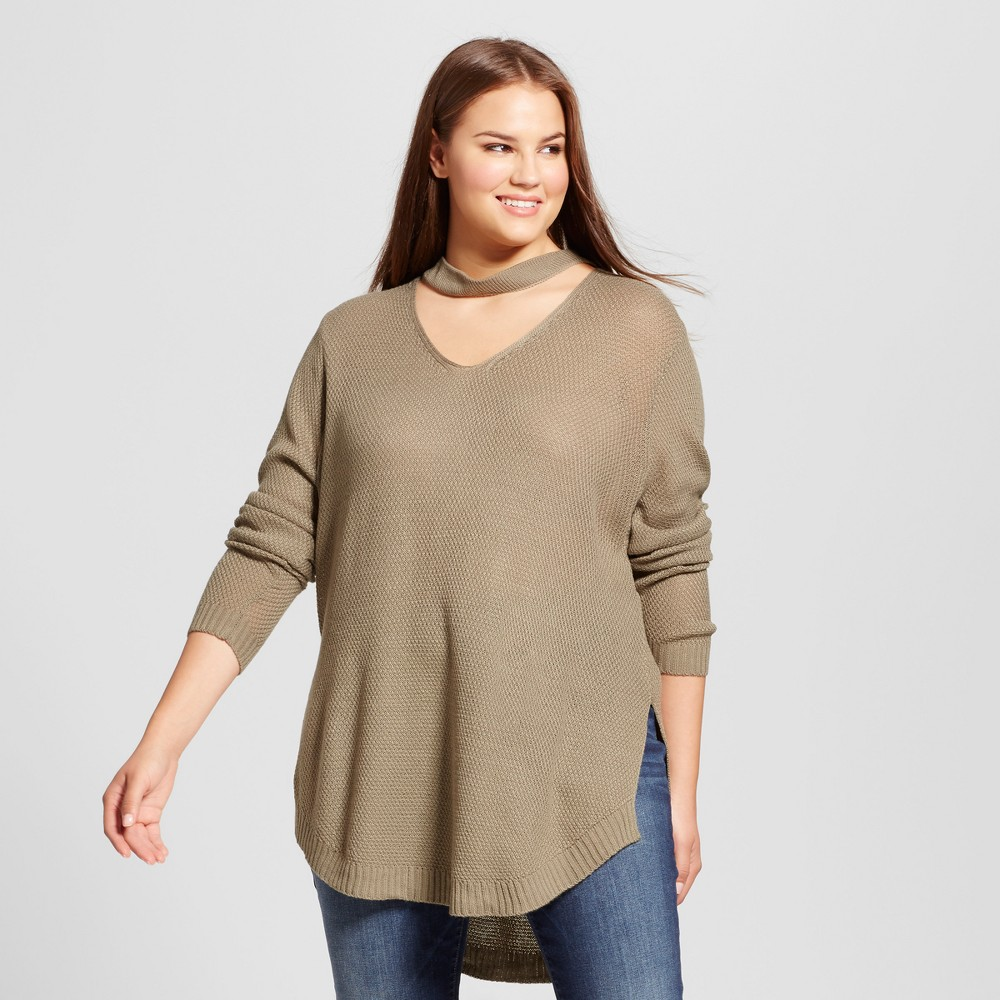 Womens Plus Size Choker Neckline Tunic Sweater - No Comment Green 3X