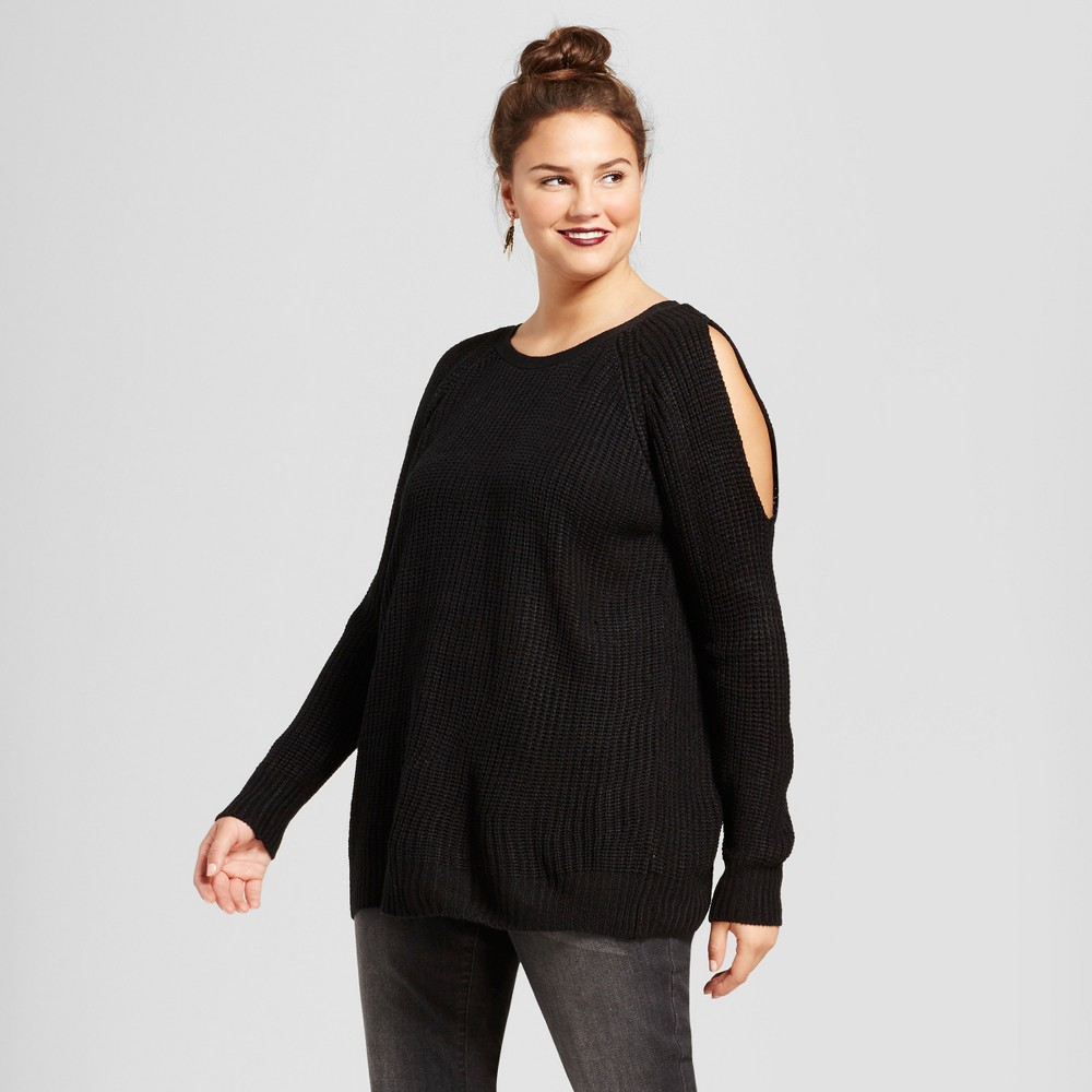 Womens Plus Size Open Back Stitch Cold Shoulder Pullover Sweater - No Comment Black 3X