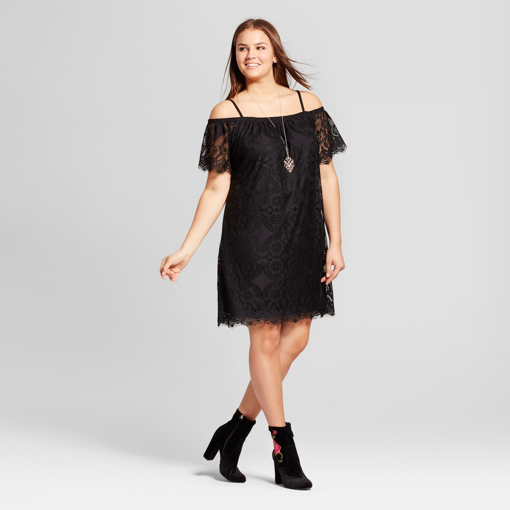 Womens Plus Size Scalloped Off the Shoulder Lace Dress - No Comment - Black 2X