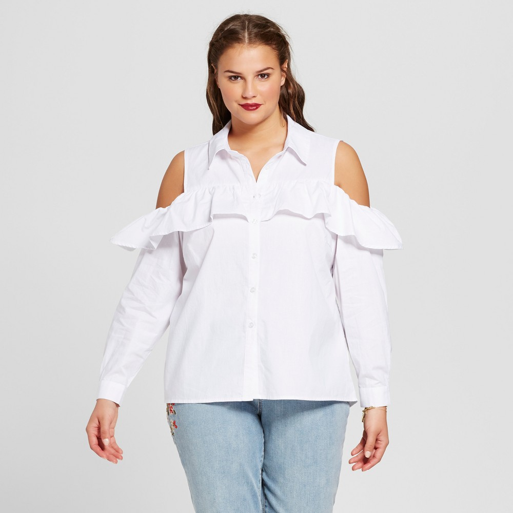 Women's Plus Size Cold Shoulder Poplin Blouse - No Comment - White 3X