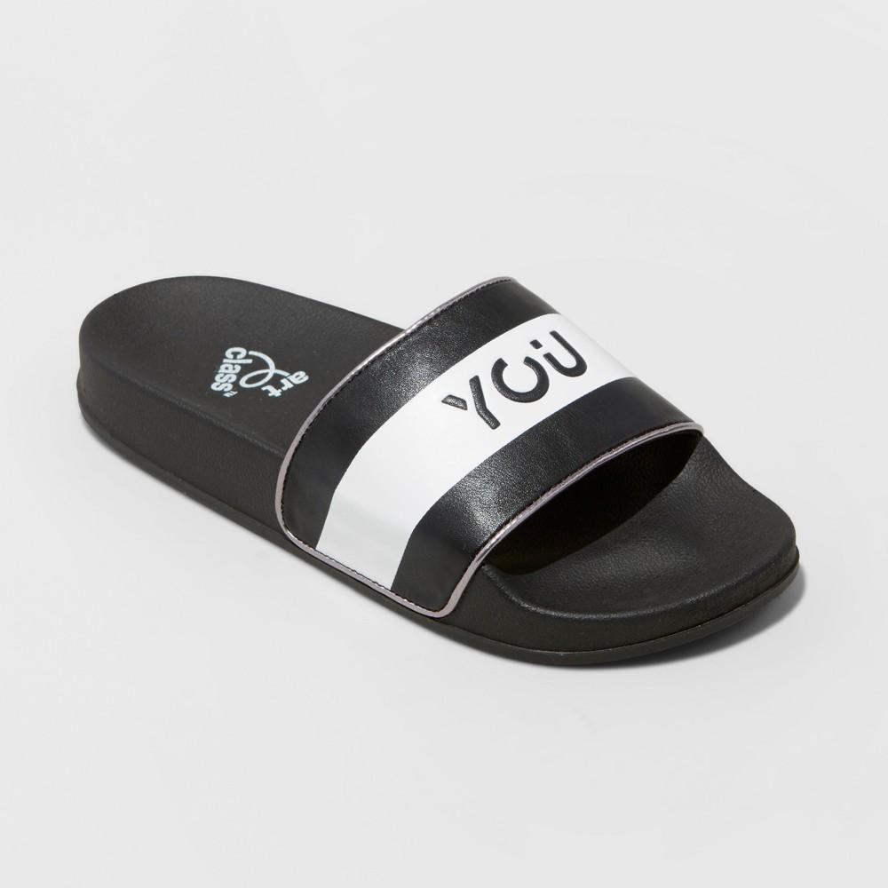 Girls You Rock Slide Sandals Art Class - Black XL, Size: 6