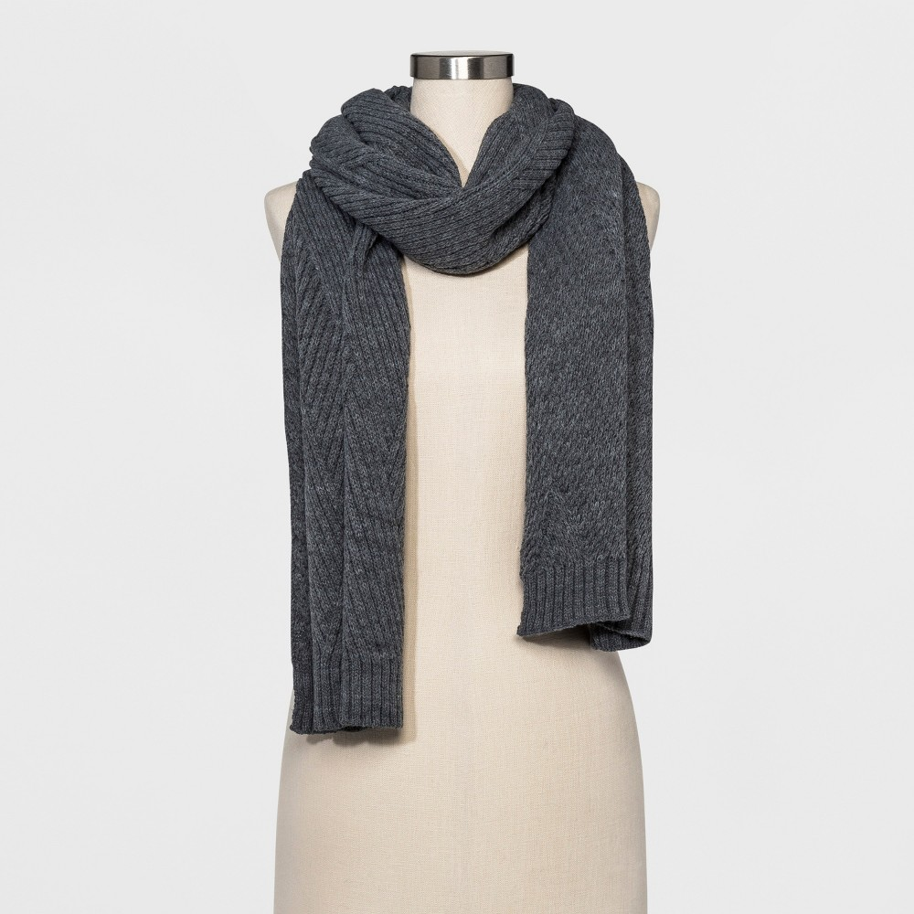 Womens Cable Knit Scarf - A New Day Heather Gray
