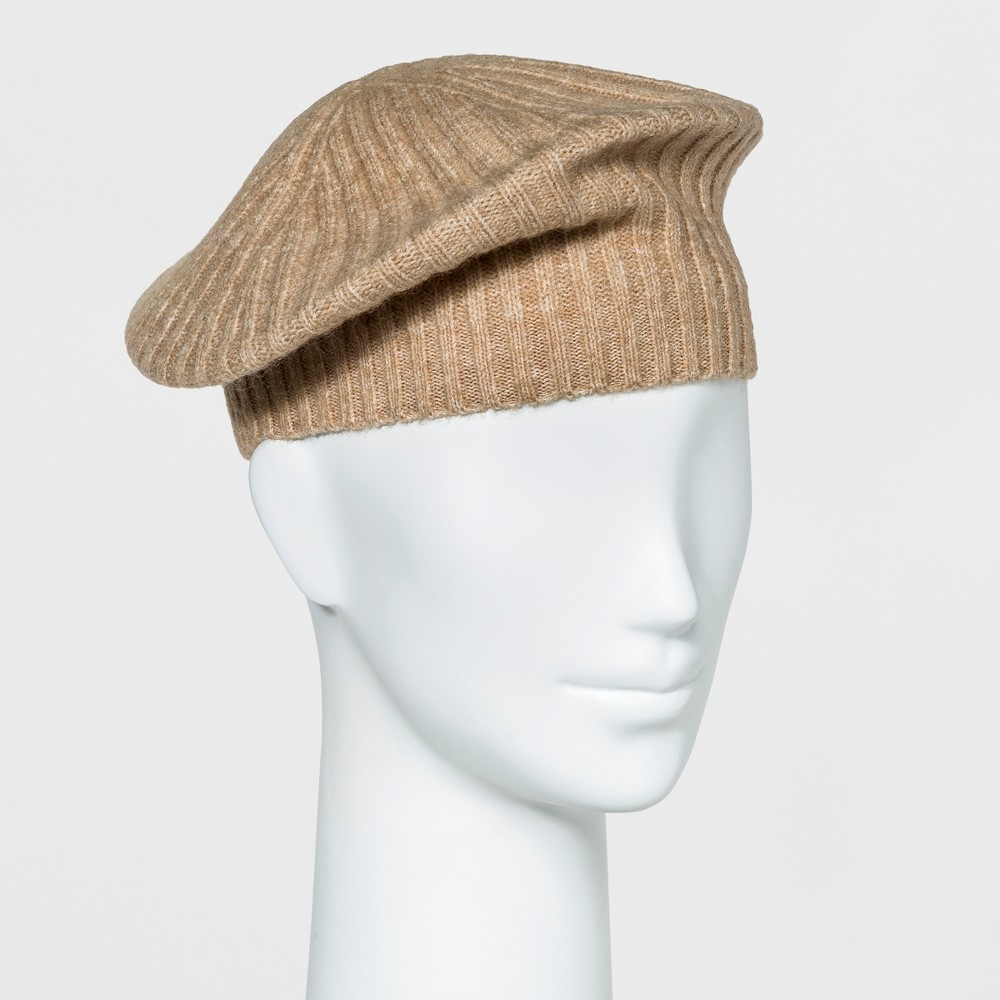Womens Knit Beret - A New Day Camel