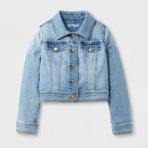 Girls' Jean Jacket with Faux Fur Collar - Cat & Jack™ Light Blue ...